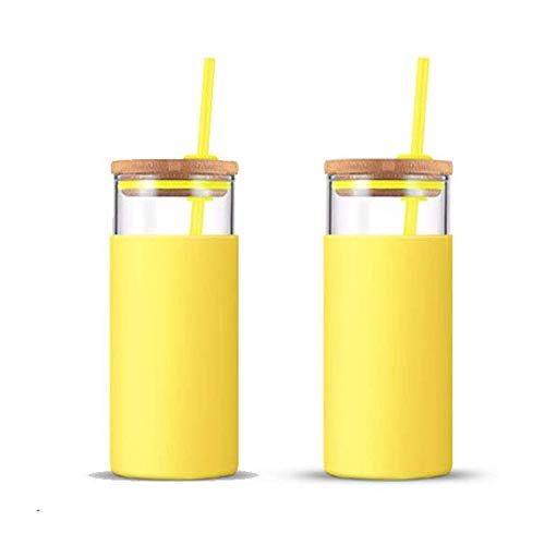 tronco 20oz Glass Tumbler Straw Silicone Protective Sleeve Bamboo Lid - BPA Free (Spring Yellow/ 2-Pack)