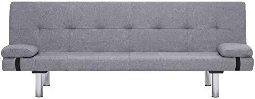 Sofá cama, 2 cojines, ajustable, moderno elegante, puede proporcionar muebles de habitaciones, sofá, cuero de hombre azul, marco de madera, dark gray