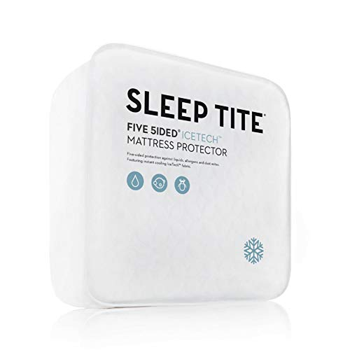 MALOUF Sleep TITE Five IceTech Waterproof Mattress Protector-Top and Side Protection with Cooling Technology-Split Queen (2 Pieces), White