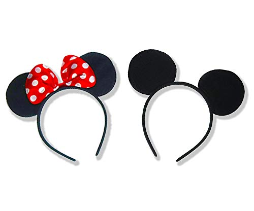 Set of 2 Mickey Mouse Ears Headband Minnie Mouse Ears for Minnie Mouse Costume for Women/Girls Mickey Mouse Ears for Mickey Mouse Costume for Men/Boys Christmas Mickey Ears