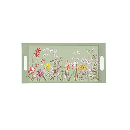 EASY LIFE Bandeja sándwich con asas EDEN melamina verde con flores 40 x 19 cm