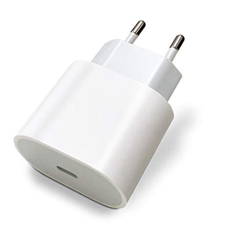 Cargador USB C 18 W Carga Rápida Compatible con iPhone 12 Mini Pro Max se 2020 11 Pro Max XR X 8 iPad Pro AirPods, Universal Adaptador Corriente Toma USBC Huawei Galaxy S10 S9 S8 Redmi Note 9 Pro