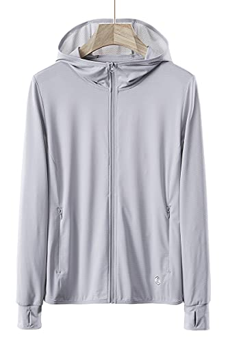 Women's UPF 50+ Sun Protection Hoodie Jackets, Long Sleeves Hiking Outdoor Performance UV Shirts with Pockets Grey M