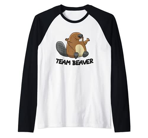 Funny Beaver Squad Team Beaver Camiseta Manga Raglan