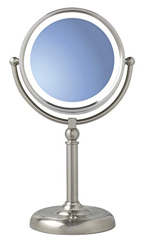 Sunter LED Vanity Mirror Brushed Nickel, Two-Sided 1x/10x Magnification, Illuminated, True Color, -