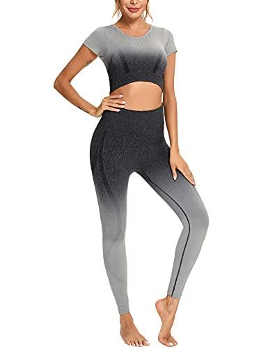 Sykooria Conjunto Deporte Mujer Ropa Verano Mujer - 2 Piezas, Sujetador Deportivo Mujer y Leggings Push Up Súper Elásticos Sin Costuras para Gimnasio Running Yoga