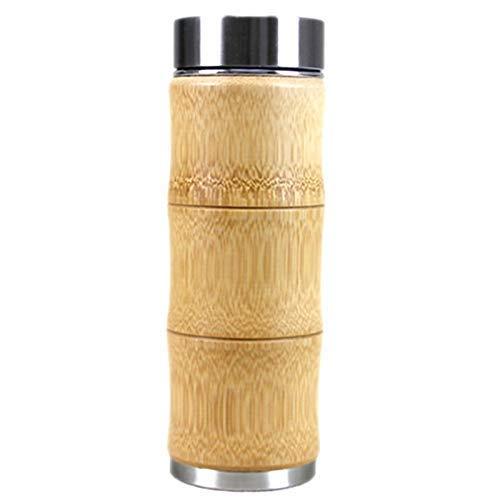 Chenbz 400 ml Taza de café del Vaso de Acero Inoxidable Termo Taza Taza del Viaje de la Botella de té de la Leche de bambú Moda Aislamiento de Agua Potable