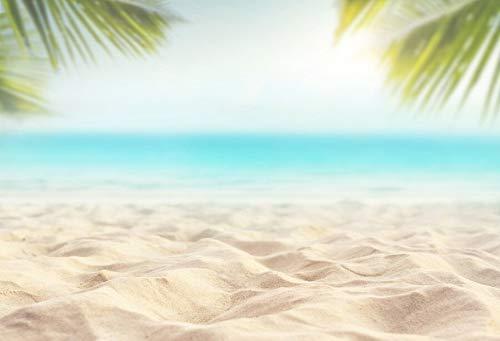 Verano Tropical Mar Playa Arena Estrella de mar Concha Coral Palmas Árbol Niño Vacaciones Foto de Fondo Estudio fotográfico A34 9x6ft / 2.7x1.8m