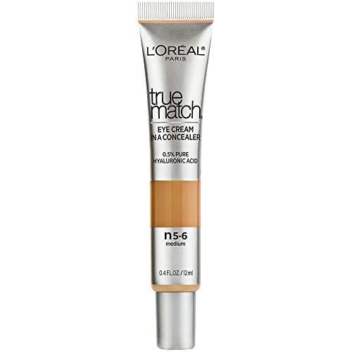 L'Oreal Paris True Match Eye Cream in a Concealer, 0.5% Hyaluronic Acid, Medium N5-6, 0.4 fl. Oz