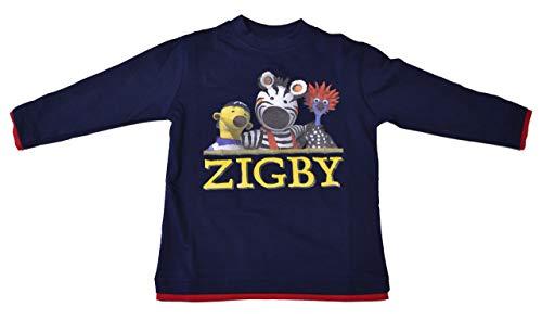 Zigby - das Zebra T-Shirt Dunkelblau Langarm Gr. 104 Super süßes und schönes T-Shirt Zigby schwarz Weiss Kuscheltier