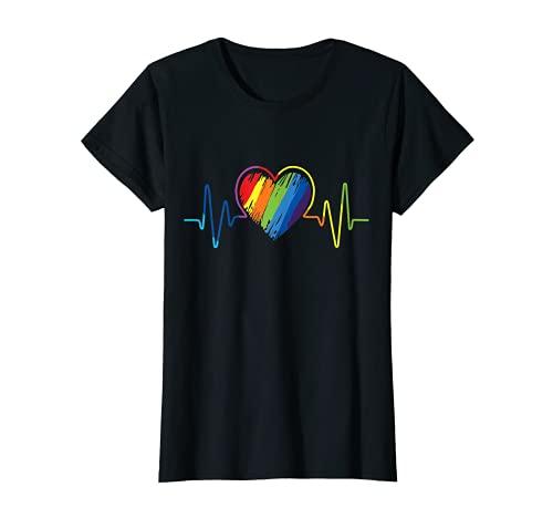 Mujer LGBT Arcoíris Corazón Gay, Lesbiana, Transgender Orgullo Gay Camiseta
