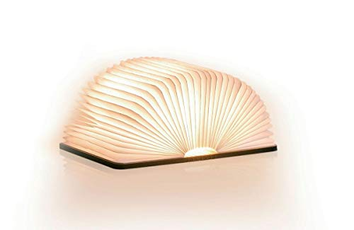 Gingko Booklight Lámpara Led Libro Mini Nogal, Bianco, talla única