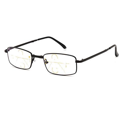 D&XQX Blauw ondoorzichtige computerbril, multifocus, dichtbij en ver gebruik, leesbril, inklapbare draagbare leesbril, dioptrie-lens +1,0 tot +3,0