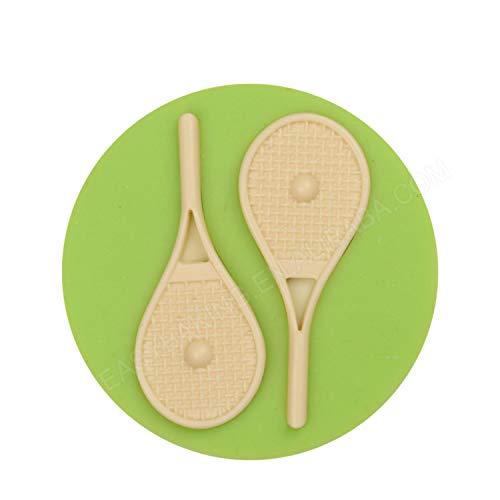 Rust Gratis Sport Theme Tennisschläger und Bälle Form Rund Silikon-Süßigkeit-Form-Fondant-Kuchen, die Werkzeuge Küche Bakeware,