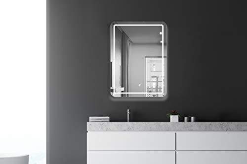 Talos Badspiegel mit Beleuchtung Cultura - Badezimmerspiegel in 60 x 80 cm - Badspiegel LED mit umlaufendem Raumlicht