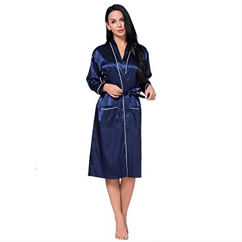 Sunhaon satijnen badjas vrouwen stretch, contrasterende kleur geplet middellange en lange zijden jurk gebreide jas en badjas, satijn kimono robe