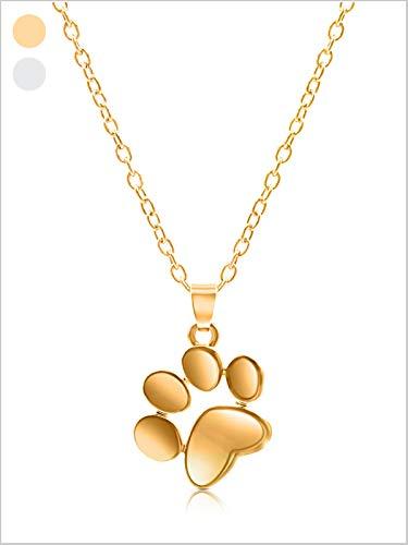 DIAMOND QUEENS® Love Memory Halskette Hund mit Pfoten Anhänger I Pfötchen Schmuck Hundepfote Kette in Silber und Gold I Tierisches Geschenk in Box