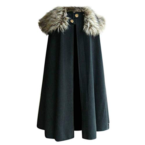 LOPILY Mittelalter Umhang mit Kapuze/Gugel Damen Herren Zauberer Kostüm Kleidung LARP Wikinger