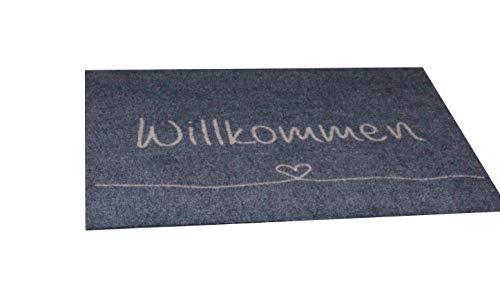 Bavaria Home Style Collection - Fussmatte - Fußmatte | Sauberlaufmatte für Eingangsbereiche | Fußabtreter | Schmutzfangmatte waschbar als Türvorleger innen und außen | 50x70cm (Willkommen)