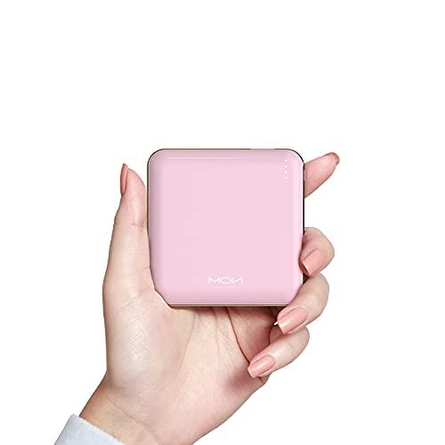 MOXNICE Power Bank USB C Powerbank 10000mAh QC 3.0, PD 18W Batteria Esterna Sottile Super Leggera per Smartphone e Tablet, Regali per Uomo Donna (Rosa)