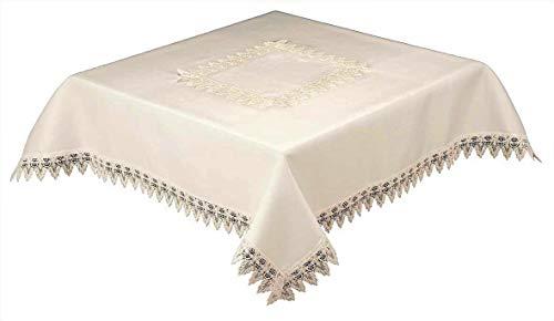 36cm cuadrado mantel blanco con calidad de encaje frontera y centro Panal, fácil cuidado (54470), color blanco