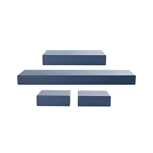 Melannco Floating Chunky Shelves for Bedroom, Living Room, Bathroom, Kitchen, Nursery, Set of 4, Distressed Navy, 4 Count