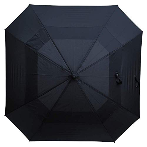 COLLAR AND CUFFS LONDON - Windproof 60mph Extra Strong Square Umbrella - Reinforced Frame with Fiberglass - StormDefender - Vented Double Canopy Regulates Gusts - Auto Open - Black