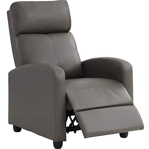 Recliner Chair Single Sofa Winback Chair Home Theater Seating Modern Reclining Chair Easy Lounge with Padded Seat PU Leather Padded Seat Backrest for Living Room Reading Chair Recliner Sofa