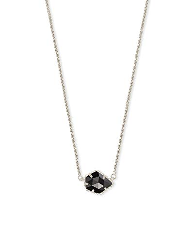 Kendra Scott Tess Small Pendant Necklace for Women, Fashion Jewelry, Rhodium Plated, Black Opaque Glass