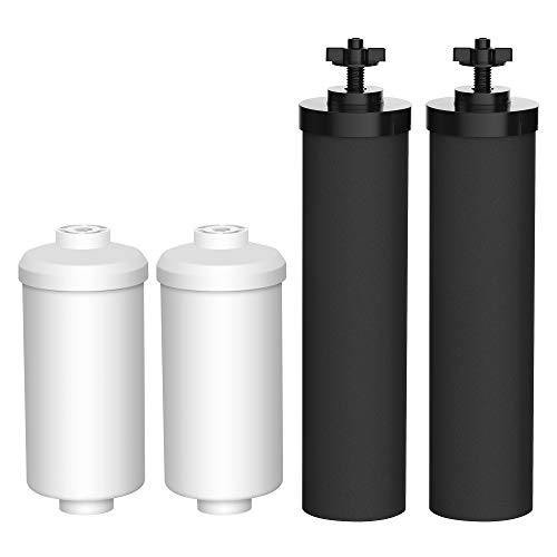 AQUACREST Water Filter, Compatible with Black Filters (BB9-2) & Fluoride Filters (PF-2) Combo Pack and Gravity Filter System - Includes 2 Black Filters and 2 Fluoride Filters