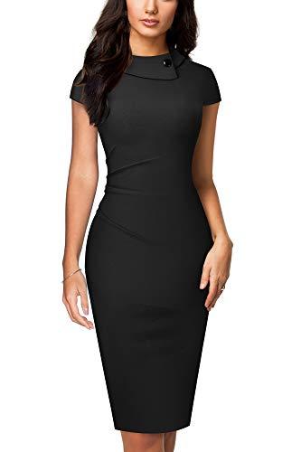HOMEYEE Vestido de Tubo de Negocios Ajustado con Pliegues y Solapa Vintage para Mujer B574 (S, Negro)