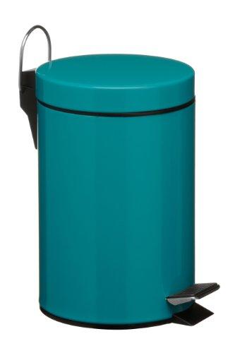 Premier Housewares 506429 Pedal Bin Turquoise Kitchen Bin Stainless Steel Bathroom Bin Pedal Push Kitchen Bins Recycling Bins 3 L