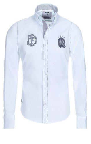 Pontto Herren Langarm Hemden Black-LINE Collection, White, XL