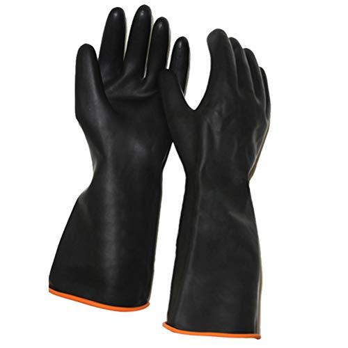 Artibetter 1 Paar Chemikalienbeständige Handschuhe Hochleistungsgummihandschuhe Doppelschicht Verlängern Verdickte Lange Handschuhe für Industrielle Arbeiten Schwarz (55 cm)