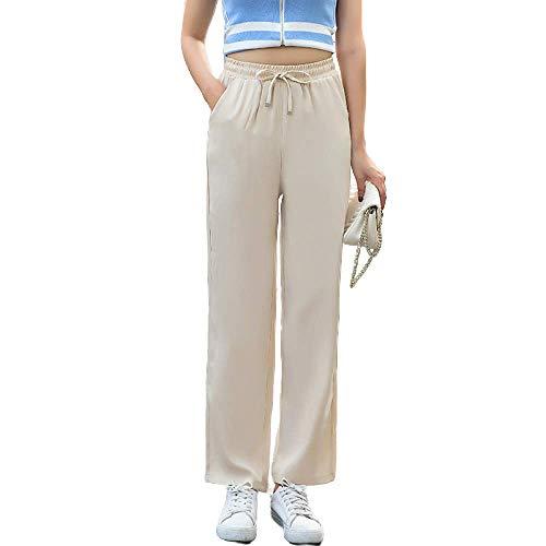 Pantalones de Pierna Ancha de Vaquera Pantalones Finos de Verano de Cintura Alta Rectos Sueltos Moda Todo fósforo Pantalones cómodos de Nueve PuntosMedium