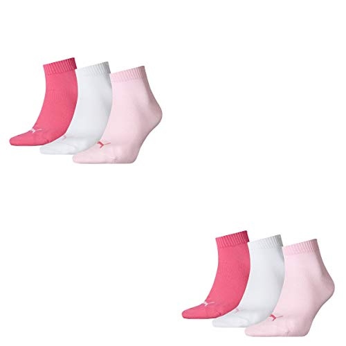 Puma Socken Quarter Sneakers Damen, 6er Pack, Größen 35-42 (Pink/Weiß/Rose (422), 35-38 (UK 2,5-5))