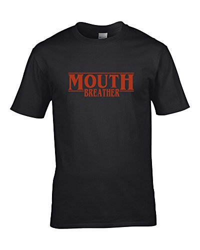 Ice-Tees Mouth Breather- Cool Retro 80s Style Sci Fi Series Inspired - Camiseta para hombre de Negro Negro ( L