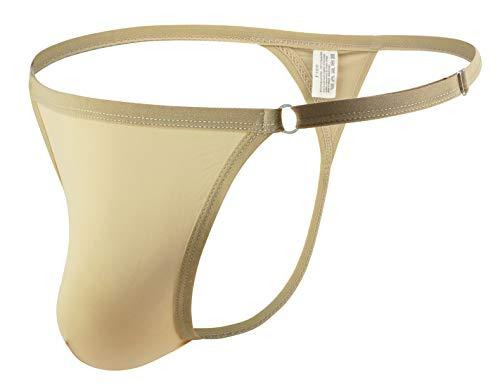 AIEOE Tanga para Hombre con Cintura Ajustable Tela Refrescante Respirable Slip de Seda de Hielo con Bolsa Grande - Beige Cintura: 66-110cm