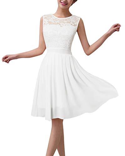 ZANZEA Damen-Minikleid mit floralem Spitzenbesatz, ärmellos, schlankes Design, für Skater/Cocktail-Partys/Abschlussball - Weiß - 42