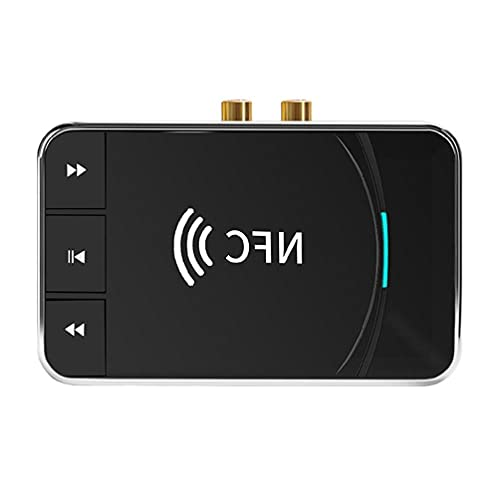 BAYAA NFC Receptor de audio Bluetooth, NFC Bluetooth 5.0 Receptor de audio USB Play RCA 3.5 mm AUX adaptador de música inalámbrico para auriculares, altavoz de casa, receptor de audio NFC Bluetooth