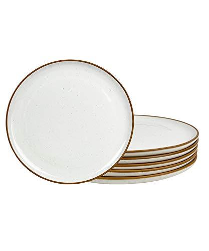 Mora Ceramic Dinner Plates Set of 6, 10 inch Dish Set - Microwave, Oven, and Dishwasher Safe, Scratch Resistant, Modern Rustic Dinnerware- Kitchen Porcelain Serving Dishes - Vanilla White