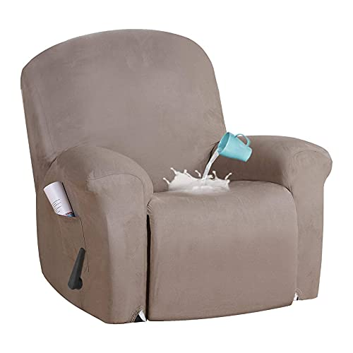 ELYSYSRL Stretch Recliner Slipcover 4-Pieces, Waterproof Suede Recliner Slipcover Soft Sofa Slipcover With Side Pockets Furniture Protector, Washable-brown