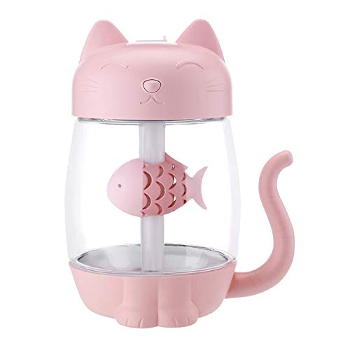 LZYMLG 3 en 1 350ML USB Humidificador de Aire de Gato Ultrasonido Cool Mist Adorable Mini humidificadores con luz LED Mini USB Ventilador para Oficina en casa Rosado