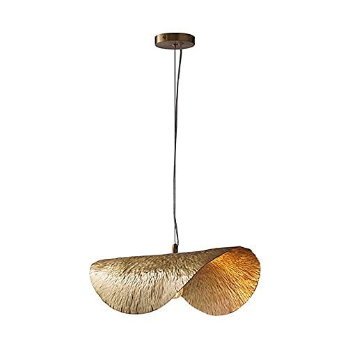 LLLKKK Lámpara de araña con forma de hoja de loto, estilo nórdico, creativo, lámpara de mesa, H65, todo tipo de cobre, textura hecha a mano, adecuada para salón o comedor