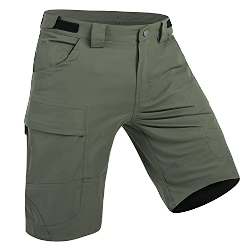 XKTTAC Men's-Tactical-Cargo-Hiking-Golf-Shorts Outdoor Military Shorts with Zipper Pockets (Green, Medium)