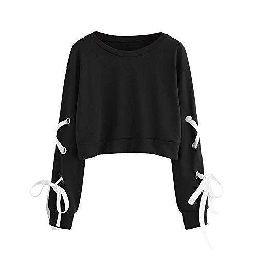 Frauen Sweatshirt,Teenage Mädchen Casual Lace Up Langarm Pullover Crop Top Moginp (S, Schwarz)