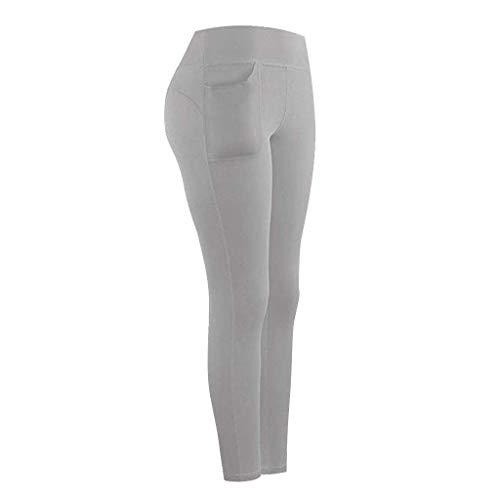 kolila High Waist Yoga PantsTummy Control Sports Workout Pants for Women 4 Way Stretch Yoga Leggings with Pockets GrayL