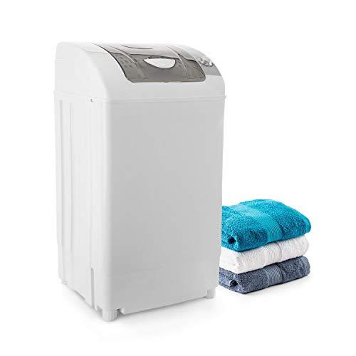oneConcept Top Spin Family Wäscheschleuder - Camping-Wäschetrockner, schonendes Vortrocknen, 3,8 kg Fassungsvermögen, platzsparend, 60 Watt, Timer-Funktion, energiesparend, laufruhig, weiß