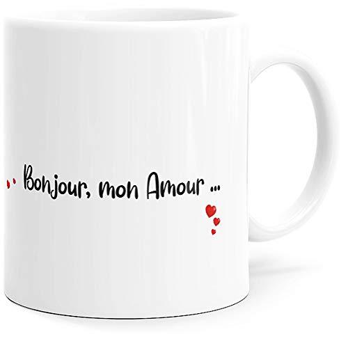 Taza humorística con texto en inglés 'Mon Amour', idea de regalo original para parejas, enamorados, colegios, hermanas, madres, esposas, cumpleaños, San Valentín, Navidad, etc.