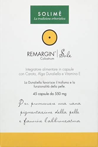 Remargin Sole Integratore in capsule per una naturale abbronzatura con Calcio e Vitamine 45 capsule da 550 mg - Prodotto erboristico made in Italy